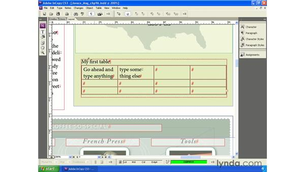 Creating and modifying tables: InCopy CS3 + InDesign CS3 Integration