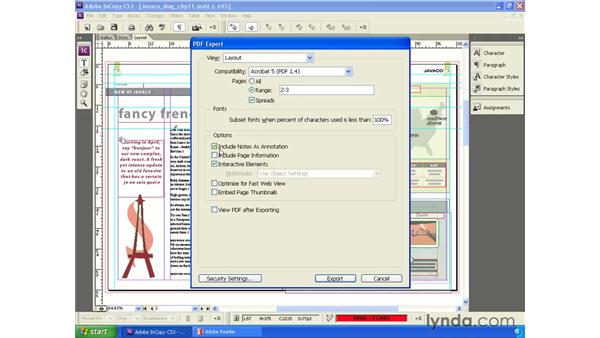 Exporting layouts to PDF: InCopy CS3 + InDesign CS3 Integration