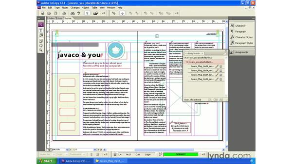 Working with assignments in InCopy: InCopy CS3 + InDesign CS3 Integration