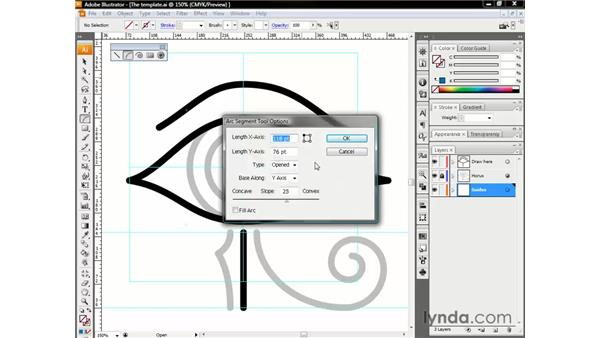 Drawing a continuous arc: Illustrator CS3 One-on-One: The Essentials