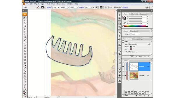 Drawing spline curves with Round Corners: Illustrator CS3 One-on-One: The Essentials