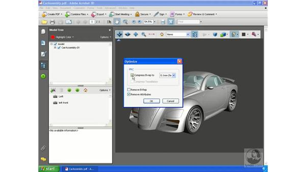 Compressing 3D PDF files: Acrobat 3D Version 8 Essential Training