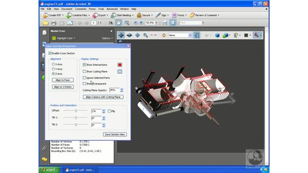 Cross-sectioning 3D models: Acrobat 3D Version 8 Essential Training