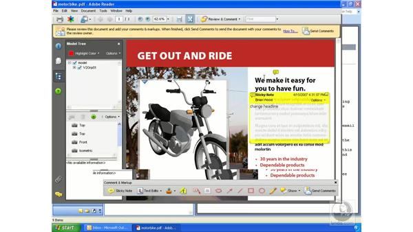 Sending a 3D PDF package via email-based review: Acrobat 3D Version 8 Essential Training
