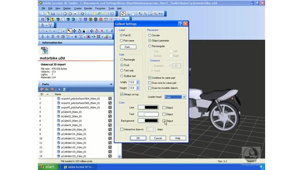 Working with a BOM and callouts: Acrobat 3D Version 8 Essential Training