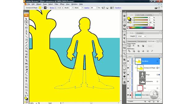 Editing a compound shape: Illustrator CS3 One-on-One: Beyond the Basics