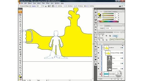 Expanding a compound shape: Illustrator CS3 One-on-One: Beyond the Basics