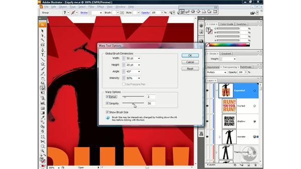 Changing the Liquify brush settings: Illustrator CS3 One-on-One: Beyond the Basics