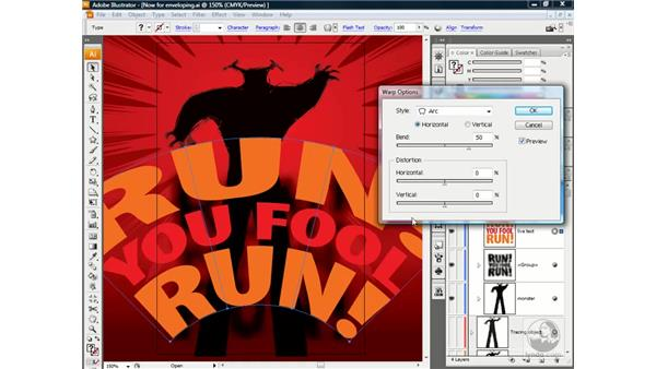 Applying an envelope-style distortion: Illustrator CS3 One-on-One: Beyond the Basics