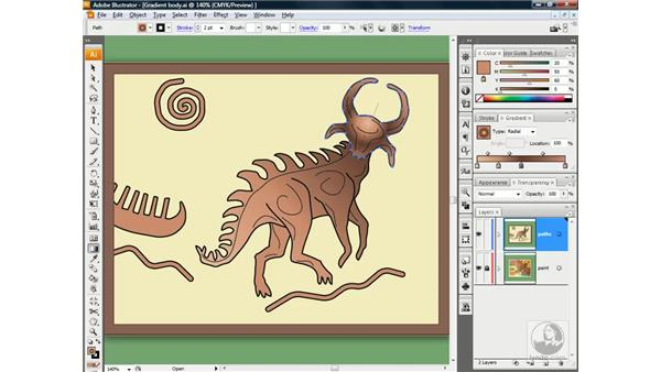 Working with a radial gradient: Illustrator CS3 One-on-One: Beyond the Basics