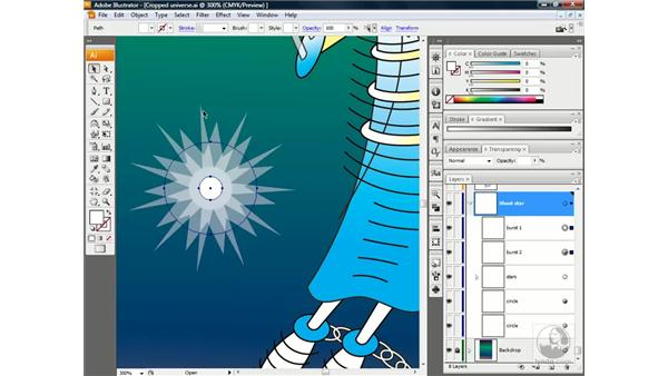 Blending between translucent shapes: Illustrator CS3 One-on-One: Beyond the Basics