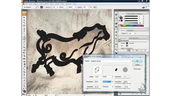 Editing a calligraphic brush: Illustrator CS3 One-on-One: Beyond the Basics