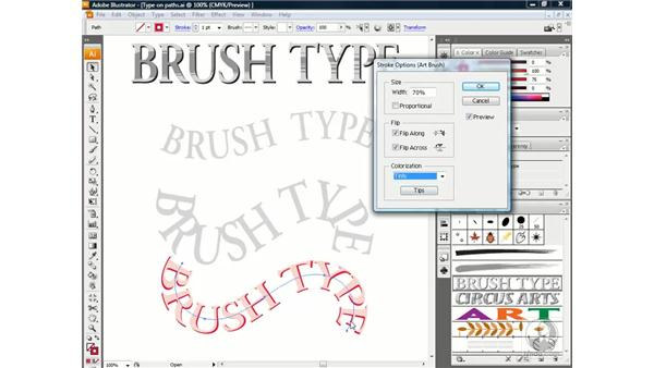 Type on a path vs. text as an art brush: Illustrator CS3 One-on-One: Beyond the Basics