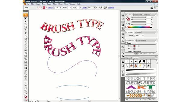 Applying text art brushes: Illustrator CS3 One-on-One: Beyond the Basics