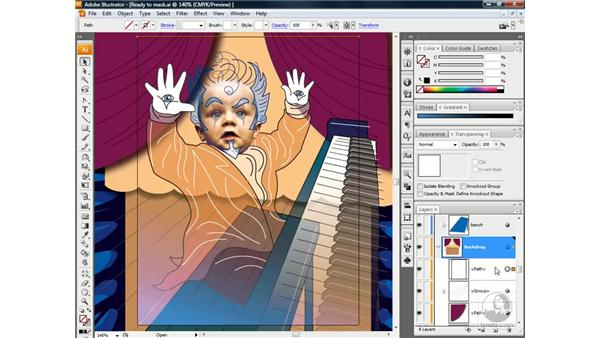 Masking an entire layer: Illustrator CS3 One-on-One: Beyond the Basics