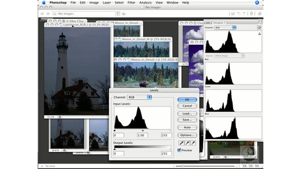 Using individual channel histograms: Photoshop CS3 Color Correction