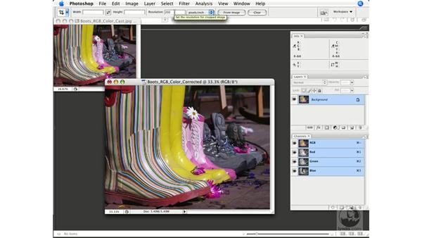 Resizing, resampling, and cropping your image, plus pattern (JPEG on blue channel) removal: Photoshop CS3 Color Correction