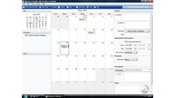 Windows Calendar: Windows Vista Essential Training