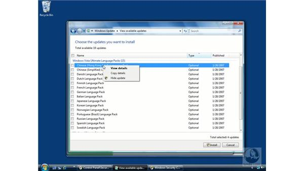 Windows updates: Windows Vista Essential Training