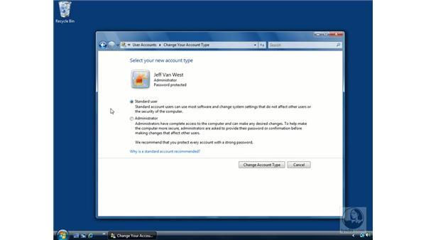 User access control: Standard vs. Admin accounts: Windows Vista Essential Training
