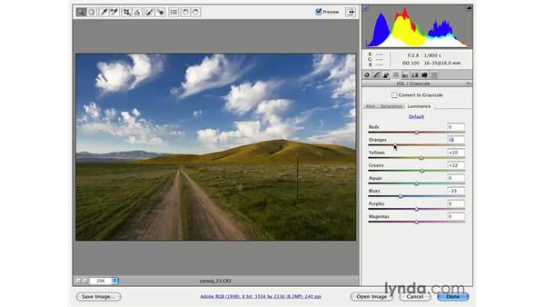 Using Hue, Saturation, and Luminosity for exposure: Photoshop CS3 for Photographers