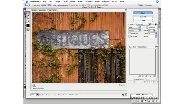 Optimizing images with Save for Web: Photoshop CS3 for Photographers