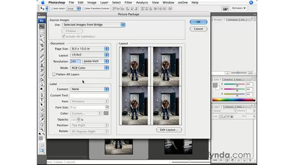 Saving time and resources with Picture Package: Photoshop CS3 for Photographers