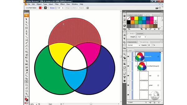 Using the Live Paint Selection tool: Illustrator CS3 One-on-One: Advanced Techniques