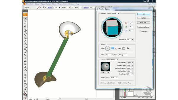 Applying the 3D Revolve effect: Illustrator CS3 One-on-One: Advanced Techniques
