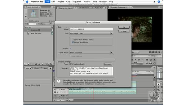 Exporting projects to Encore: Premiere Pro CS3 Essential Training