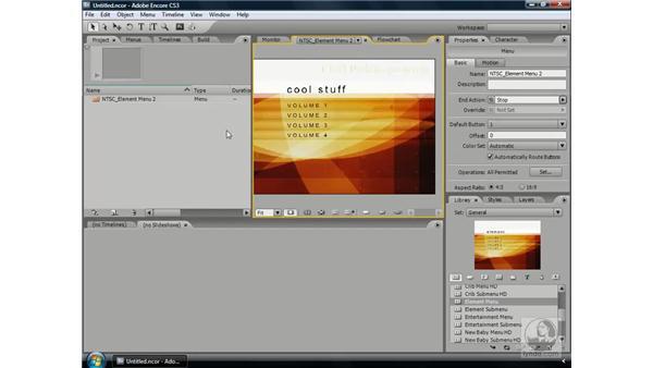 Adding text and drop shadows: Encore CS3 Essential Training