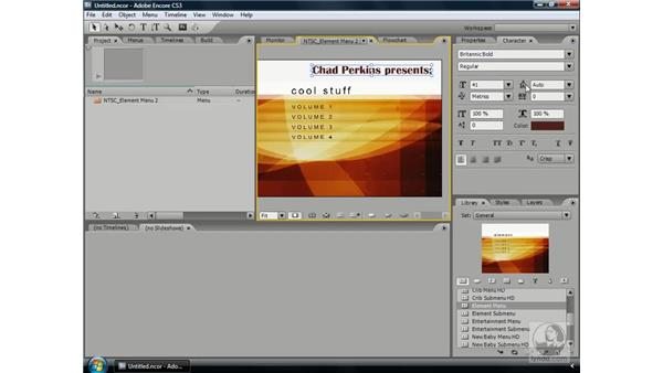 Using the Character panel to create better text: Encore CS3 Essential Training