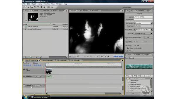 Creating and importing subtitles: Encore CS3 Essential Training