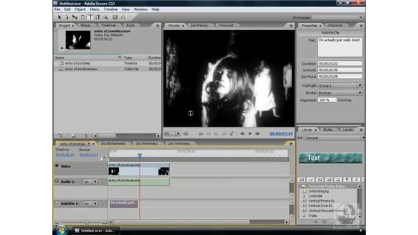 Editing and changing the timing of subtitles: Encore CS3 Essential Training