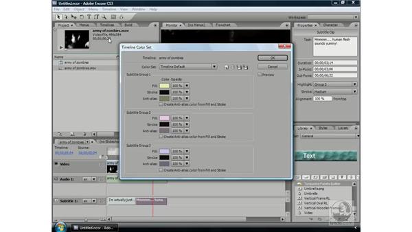 Changing subtitle colors: Encore CS3 Essential Training