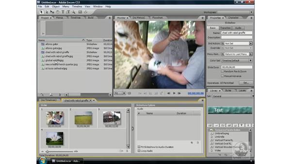 Slideshow basics: Encore CS3 Essential Training