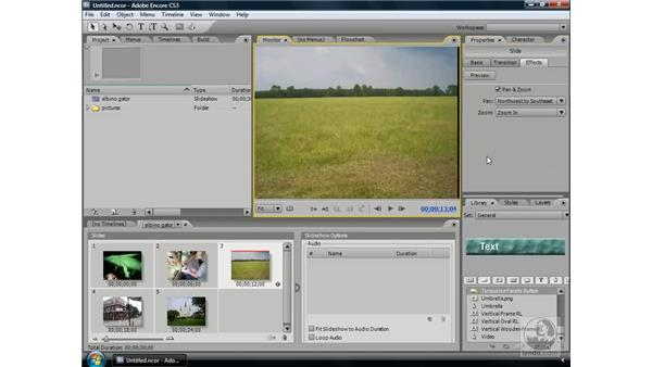 Adding animation to slides: Encore CS3 Essential Training