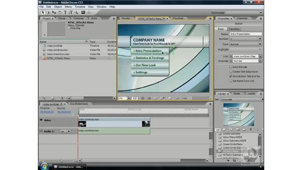 Using menu transitions: Encore CS3 Essential Training