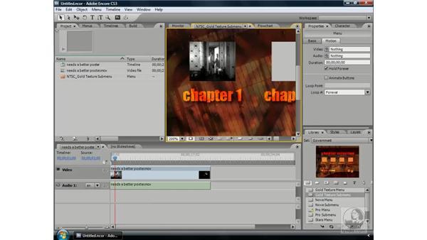 Setting poster frames: Encore CS3 Essential Training