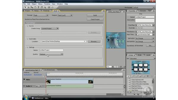 Output to a Flash website (SWF): Encore CS3 Essential Training