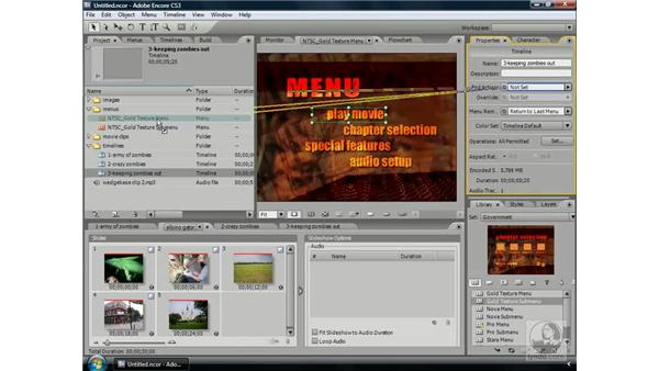 Putting it all together: Building a simple DVD: Encore CS3 Essential Training