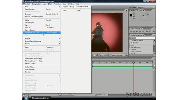 Tips for saving files: After Effects CS3 Professional Essential Training