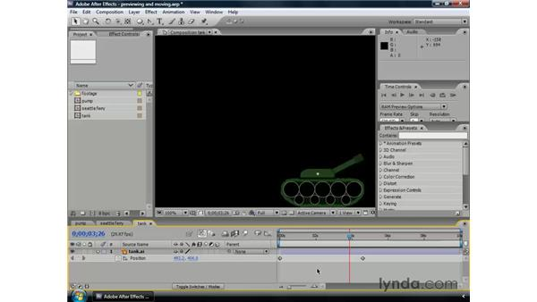 Selecting and moving keyframes : After Effects CS3 Professional Essential Training