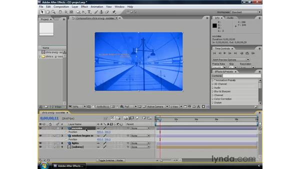 Animating opacity: After Effects CS3 Professional Essential Training