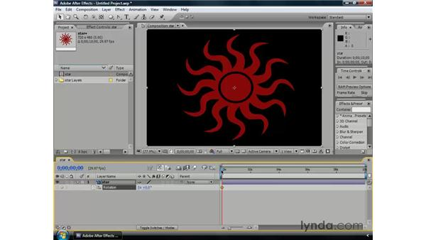 Animating rotation: After Effects CS3 Professional Essential Training