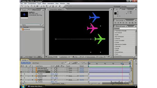 Easing keyframes: After Effects CS3 Professional Essential Training