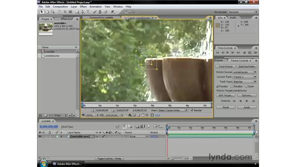 Stabilizing motion: After Effects CS3 Professional Essential Training