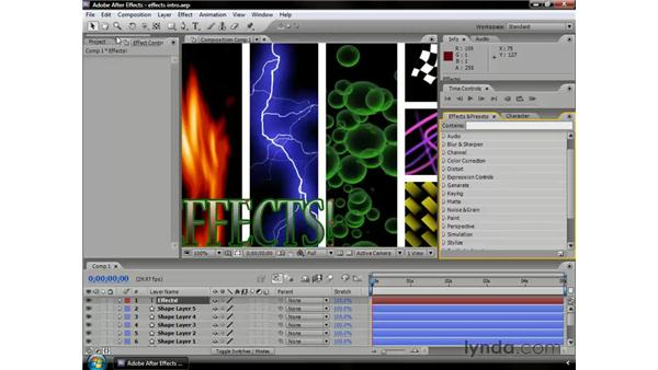 Using effects: After Effects CS3 Professional Essential Training