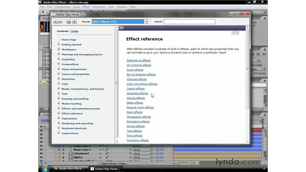 Using Help for effects: After Effects CS3 Professional Essential Training