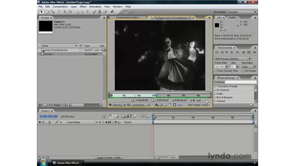 Using the Footage and Layer panels: After Effects CS3 Professional Essential Training